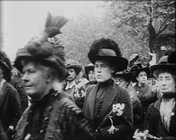 A Black and white still image from Funeral Procession of the Woman Who Dared (1913)