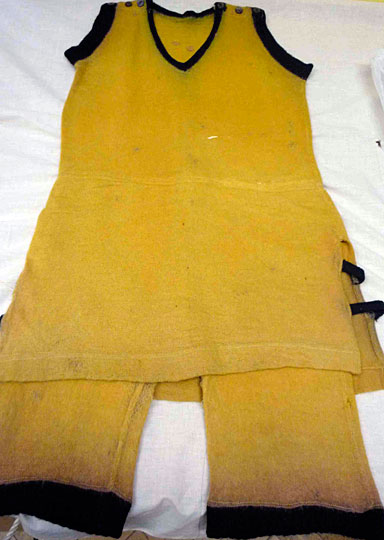 Yellow wool bathing suit with attached shorts (c.1920)