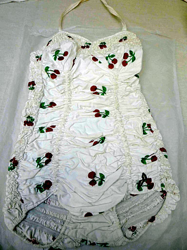 antzen white cotton ruched costume embroidered with red cherries Date: (1930s)
