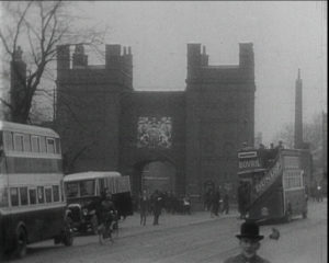 Dock gates seen on St. Bartholomew's Hospital film (1930s)