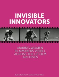 image of the cover of the Invissible Innovators e publication. The item has a pink cover with three frames of film images below the title.