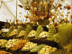 A colour image of an indoor vegetable exhibit, showing carrots, potatoes and broad beans during the Kent Agricultural Show, 1951.