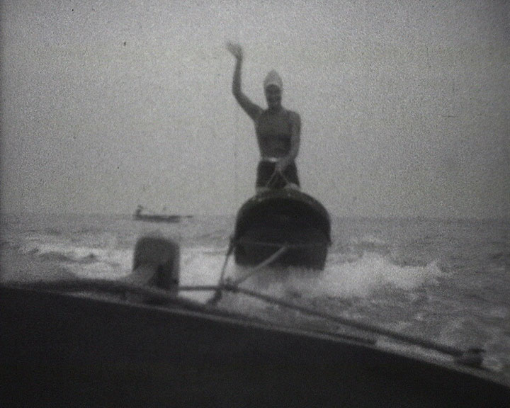 A still from [Broadstairs Items] (1927-1935) showing a woman waterskiing
