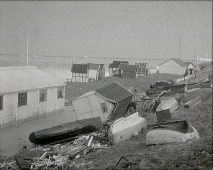 A Still from 'The Great Storm' (1953) showing reckage on the beach
