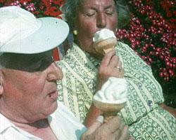 A still from 'Broadstairs... Of Course!' (1965?) showing people eating icecream