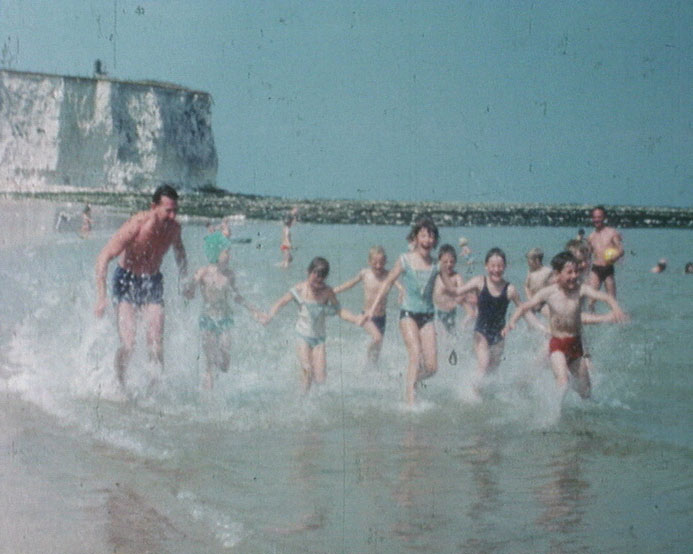 A still from 'Broadstairs... Of Course!' (1965?) showing people in the sea at Broadstairs