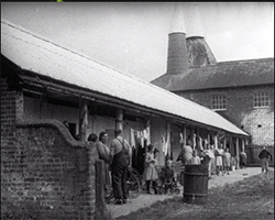 A wide black and white still image taken from TID 1044, showing the row of converted stable accommodation blocks and the main Oast House the Hop pickers reside during their time on the farm. Several family groups stand gathered outside their section of the accommodation block, socialising together.