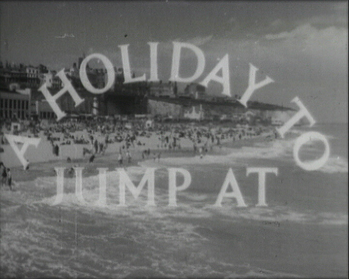 A Still from 'A Holiday to Jump At' (1954) showing the film title