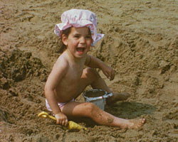 A still from 'This is Broadstairs' (1970) showing a child on the beach