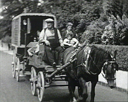 A still from 'With the Gypsies in Kent' (ca. 1939) showing a Gypsy caravan