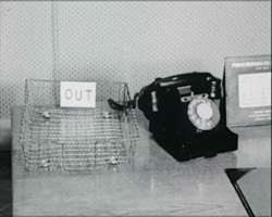 A still from 'Is This Your Life?' (1957) - a telephone on a desk