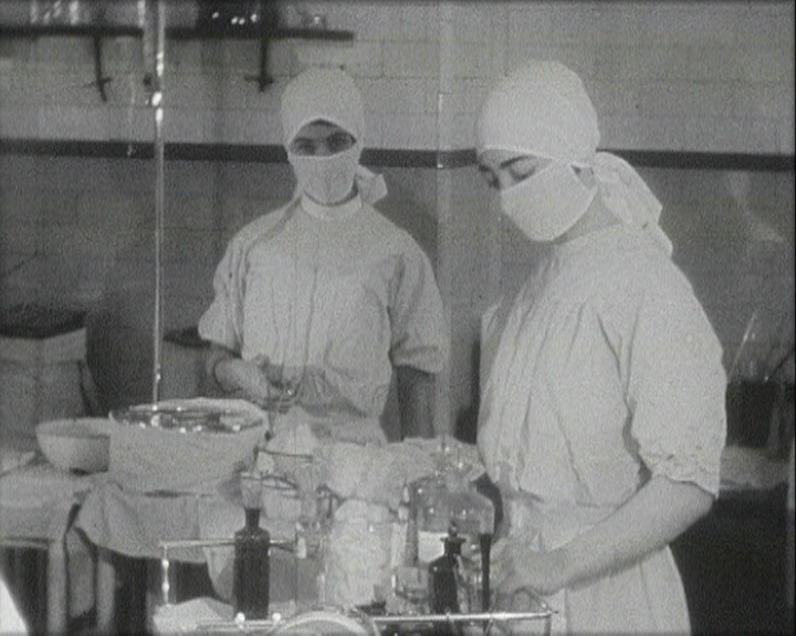 A still from 'St Bartholomew's Hospital' (ca. 1930) showing the operating theatre