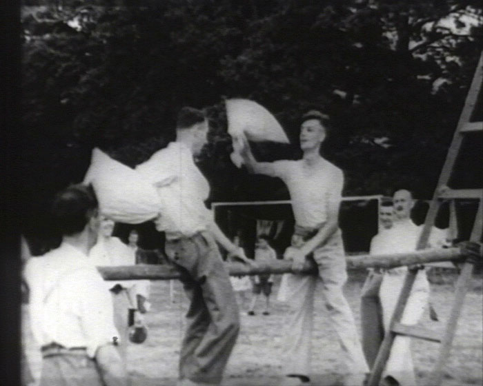 A still from [A 'Capitol' Newsreel by Clifford Spain III] (1927-1934) showing a pillow fight