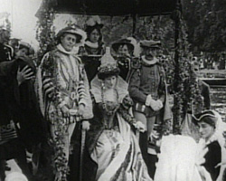 A Still from A Molesey Pageant (1913) showing the Pageant 'Queen' arriving