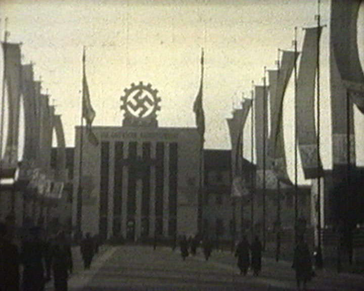 A Still from [Exhibitions] (1937-1938) - Exhibition building with swastika emblem