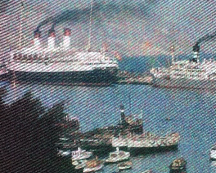 A Still from [Christmas Cruise - Trip to Africa] (ca.1935) showing the cruise ship Cap Arcona