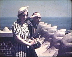 A still from 'American Visit' (1938) showing Mr and Mrs Thompson