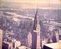 A still from 'American Visit' (1938) showing the New York skyline