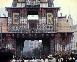 A still from Coronation Celebrations in Singapore (1953) showing street decorations