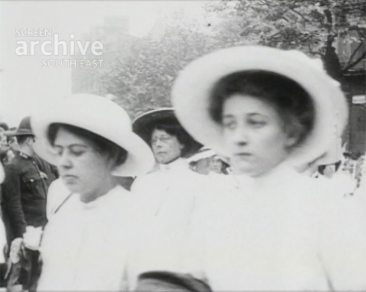A Still from 'Funeral Procession of the Woman Who Dared' (1913) - Suffragettes