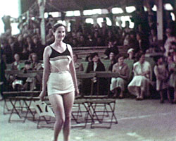 A still from 'Local News Film' (1936-1937?) showing the bathing beauty contest