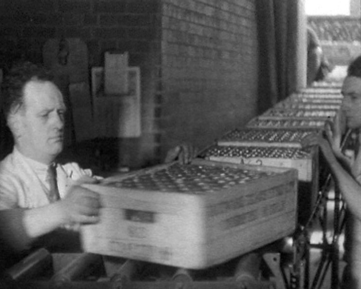 A still from 'Ancient and Modern' (1933) showing crates being dispatched at Shippam's factory