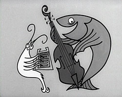 A still from '[Shippam's Rock and Roll]' (1908) showing animated seafood playing instruments