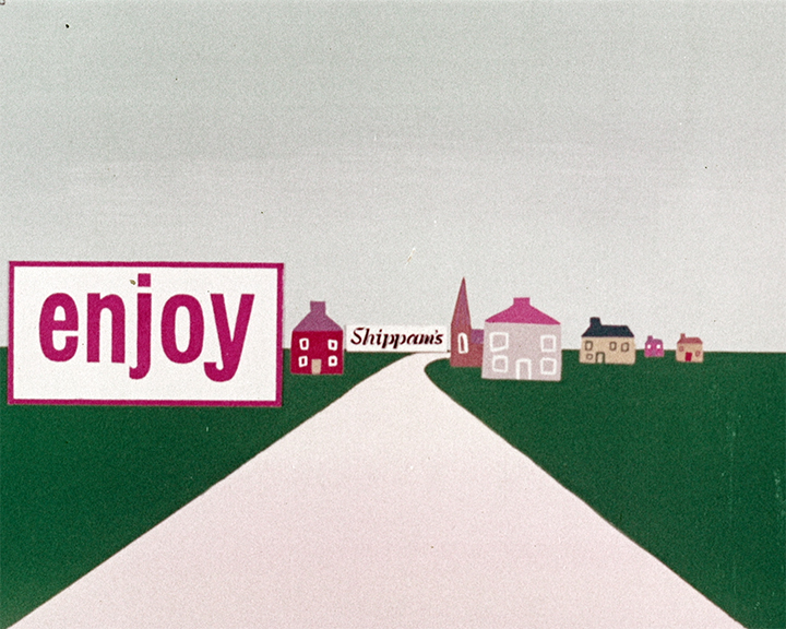 Shippam\'92s Poster (1950) showing a street with a road, grass and houses. Text says \'91enjoy Shippam\'92s\'92.}