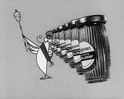 A still from 'Shippam's Tattoo' (1958) showing animated fish paste jars