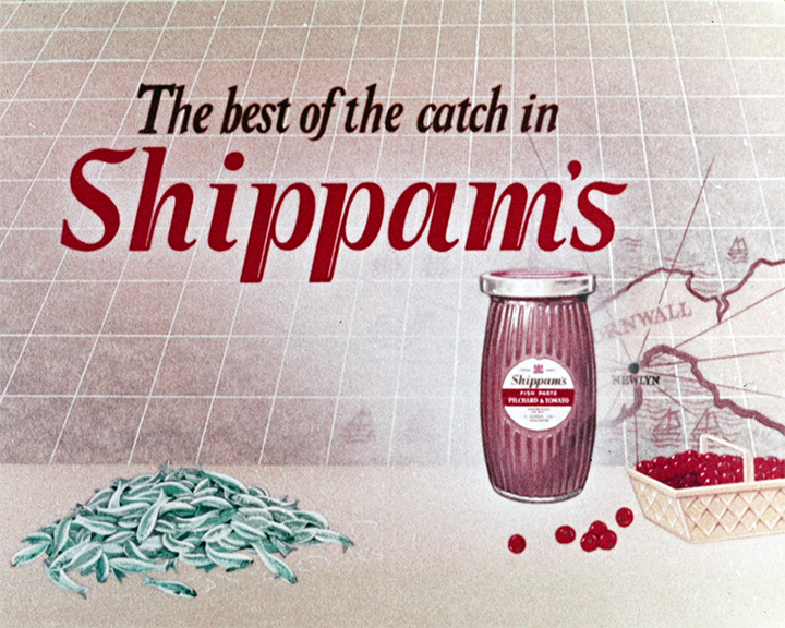 A still from Shippam\'92s Pilchards and Tomatoes (1950) showing the jar of Shippam\'92s with text saying \'91The best catch in Shippam\'92s\'92 next to a pile of fish and a basket of tomatoes.}