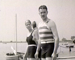 A still from [Miscellaneous Family Pictures] (1930-1937) showing bathers in swimming costumes