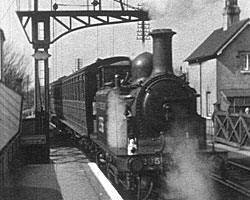 A still from [Old Steam Railways] (ca.1938) showing a steam locomotive