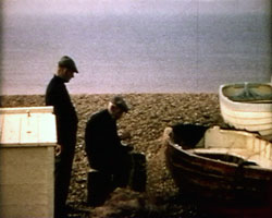 A still from 'Brighton Re-visited' (1969) - fishermen on the beach