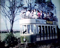 A still from [Rural Scenes] (1960-1962) showing a tram at Eastbourne