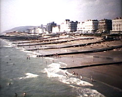 A still from 'Eastbourne Sun trap of the South' (1966) showing the seafront