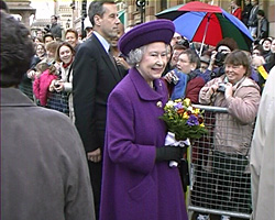 A still from HM Queen Elizabeth Visit to Brighton (2001) - The Queen greets the crowds in Brighton