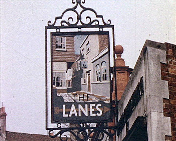 A still from 'Brighton' (ca.1957) showing the Lanes