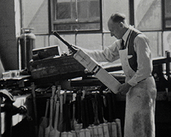 A Still from 'Camera Mag No. 2 Edition' (1939) showing a cricket bat being made