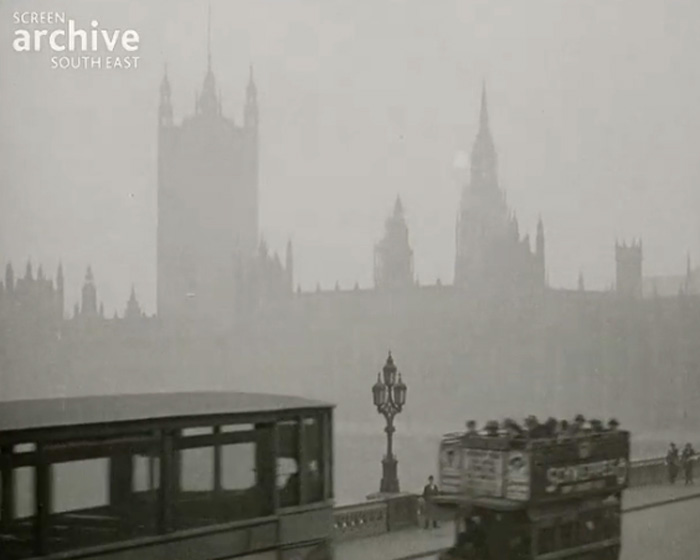 A still from [Traffic on Westminster Bridge; Beekeeping; Pheasant Shoot] (ca.1920)