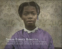 A Still from 'Digital City - St Nicholas Church' (2003) showing a picture of Sarah Forbes Bonetta