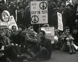 A still from [Brighton Pictures I] (1963-1965?) CND protest