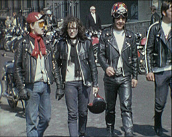A still from [Brighton Pictures III] (ca.1970) - bikers in Brighton