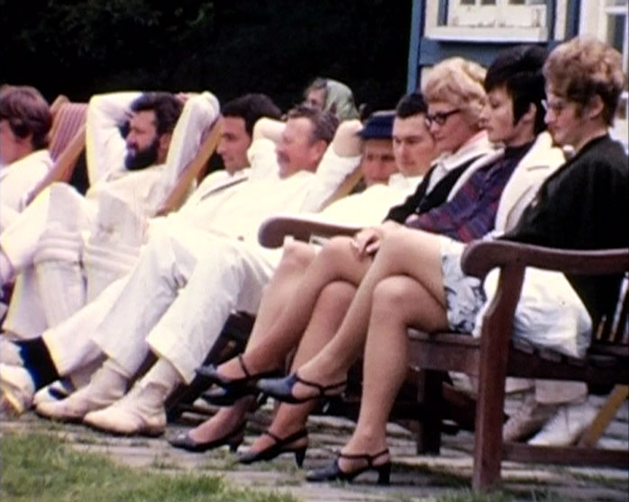 A Still from Brighton Cocktail (1969) showing people at a cricket match