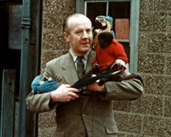 A still from TID 5804 - S[To Emily with Love], (1963) showing a colour still image of  a man dressed in a brown day suit holding two bright blue and yellow parrots and a small black marmosets monkey wearing a red woollen jumper. One parrot is perched on the mans left shoulder, the other being graded like a baby in his right arm, whilst the money is cradled in his left. The man is stood in front of a pebble dashed stone building with blue-green painted window frames.
