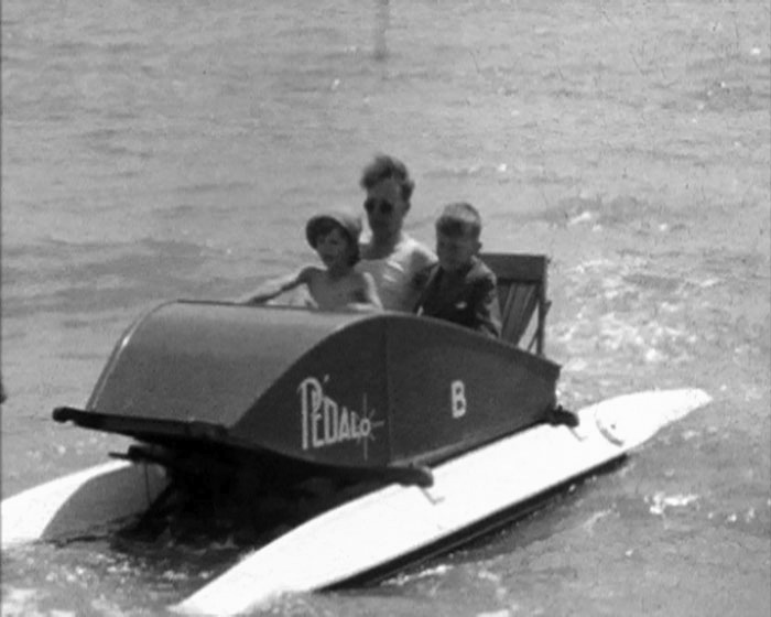 A Still from OMCC outing to Bexhill (1950) showing pedalos