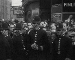 A still from [The Battle of Cable Street] (1937)