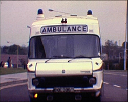 A Still from 'The William Harvey Hospital' (1979) - an ambulance
