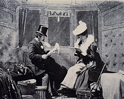 A still from The Kiss in the Tunnel (1899)