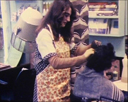 A Still from 'Enough to Make Your Hair Curl' (1976) - hair dresser at work