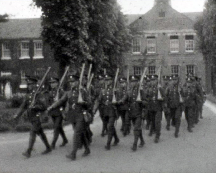 A still from [Soldiers Marching; Cricket Match, Guildford] (ca.1930s)